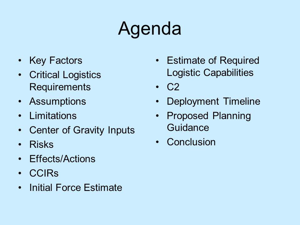 Agenda Key Factors Critical Logistics Requirements Assumptions Limitations Center of Gravity Inputs Risks Effects/Actions CCIRs Initial Force Estimate
