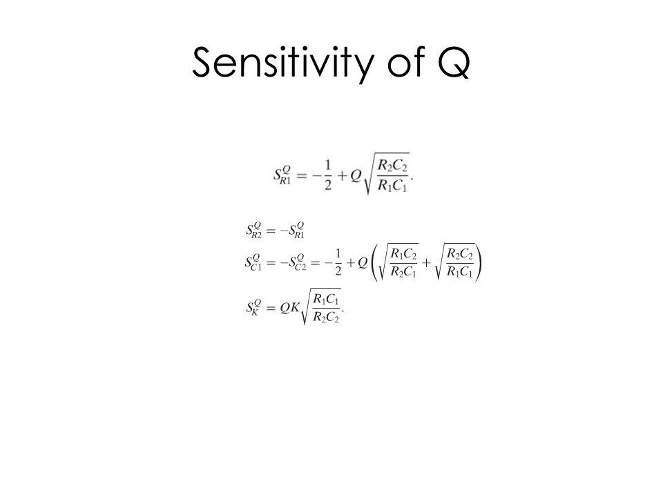R2/R1=1, C2/C1=1, K=1 Q 10.51.51 2 3.52 54.59.55 109.519.510 Q↑→Increased sensitivity to component variations