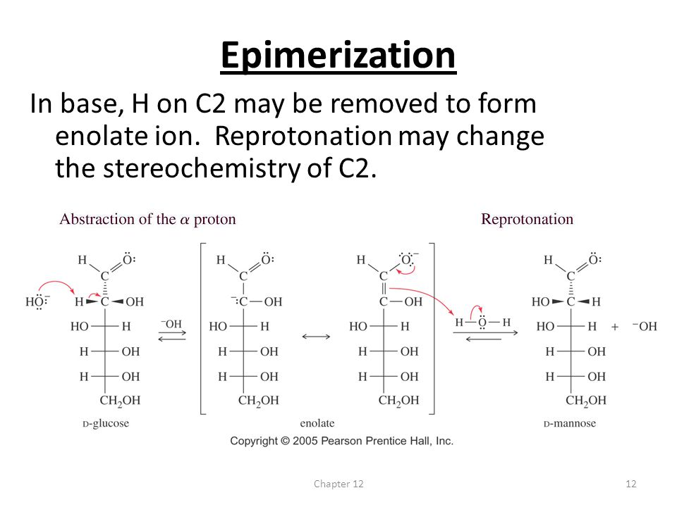 Chapter 1212 Epimerization In base, H on C2 may be removed to form enolate ion. Reprotonation may change the stereochemistry of C2.