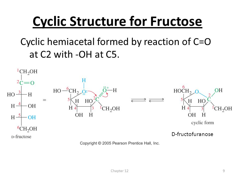 Chapter 129 Cyclic Structure for Fructose Cyclic hemiacetal formed by reaction of C=O at C2 with -OH at C5. D-fructofuranose
