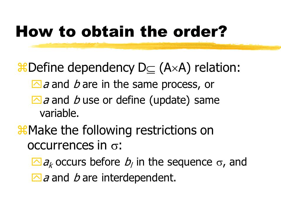 How to obtain the order.