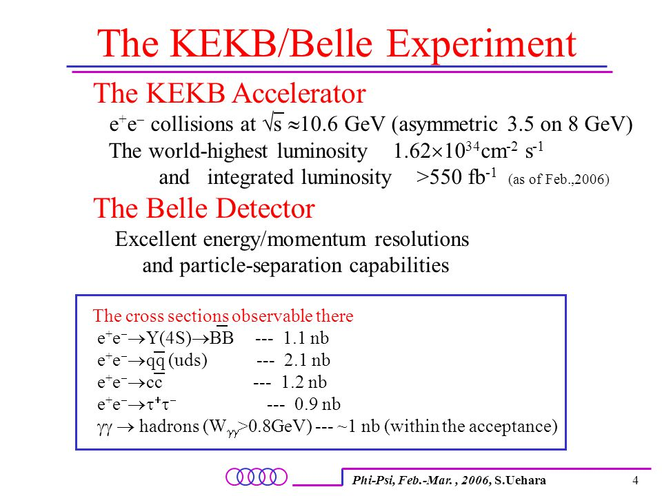 Phi-Psi, Feb.-Mar., 2006, S.Uehara4 The KEKB/Belle Experiment The KEKB Accelerator e + e  collisions at  s  10.6 GeV (asymmetric 3.5 on 8 GeV) The