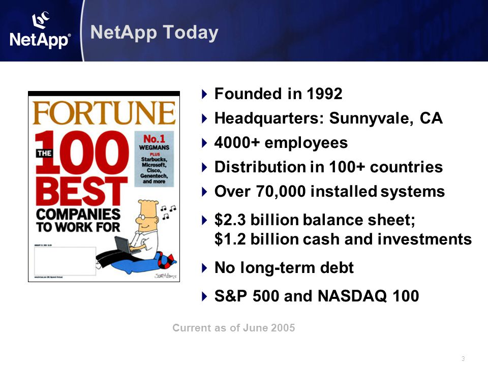 3 NetApp Today  Founded in 1992  Headquarters: Sunnyvale, CA  4000+ employees  Distribution in 100+ countries  Over 70,000 installed systems  $2.3 billion balance sheet; $1.2 billion cash and investments  No long-term debt  S&P 500 and NASDAQ 100 Current as of June 2005