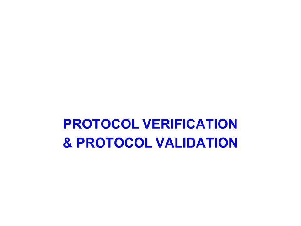 Protocol Verification Communication Protocols should be checked for correctness, robustness and performance, interoperability etc.