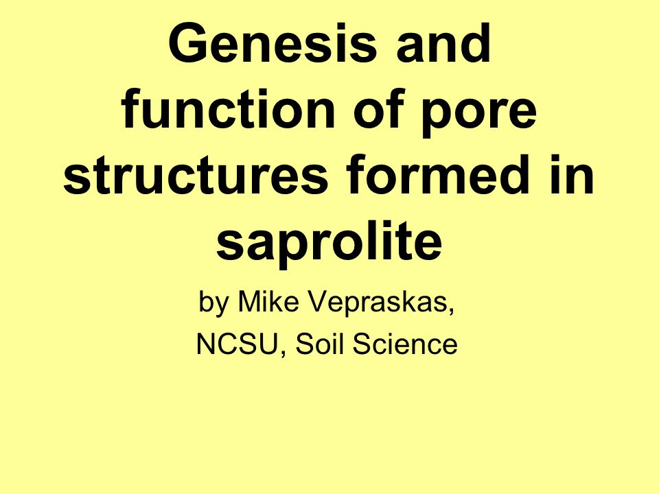 Genesis and function of pore structures formed in saprolite by Mike Vepraskas, NCSU, Soil Science