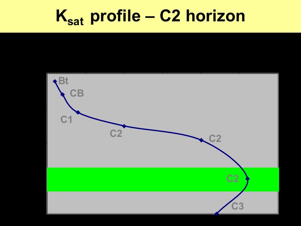 K sat profile – C2 horizon 0 100 200 300 400 00.511.522.53 K sat (cm h -1 ) Depth (cm) C2 CB C2 C1 Bt C3