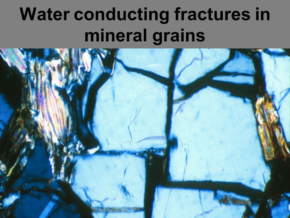 Water conducting fractures in mineral grains