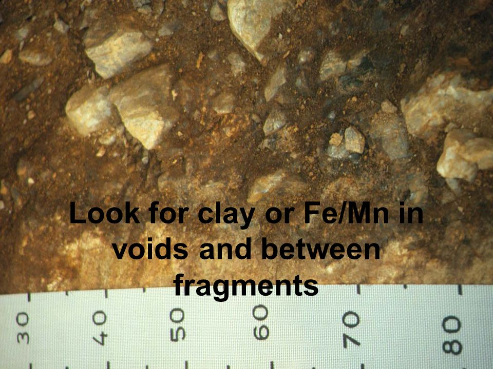 Look for clay or Fe/Mn in voids and between fragments