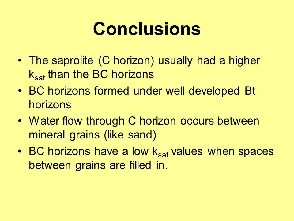 Conclusions The saprolite (C horizon) usually had a higher k sat than the BC horizons BC horizons formed under well developed Bt horizons Water flow t