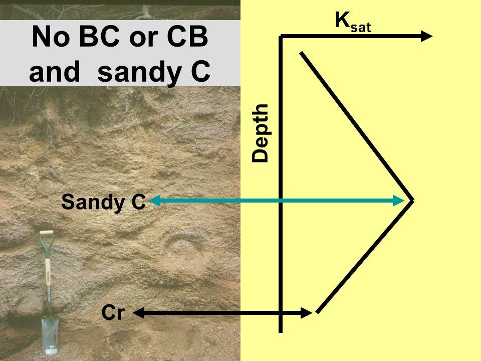 No BC or CB and sandy C K sat Depth Sandy C Cr