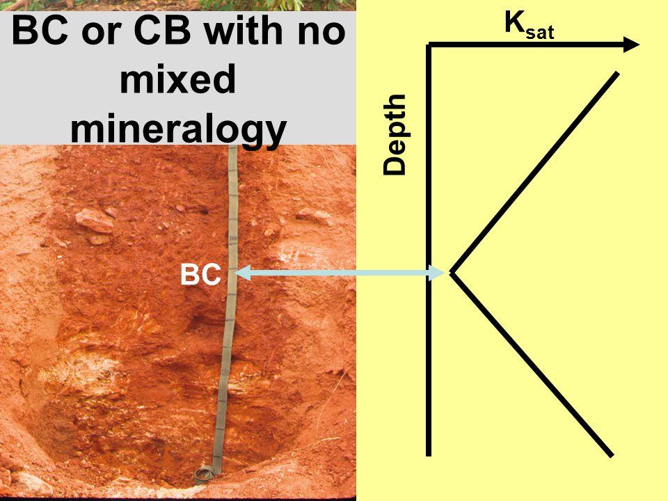 BC or CB with no mixed mineralogy K sat Depth BC