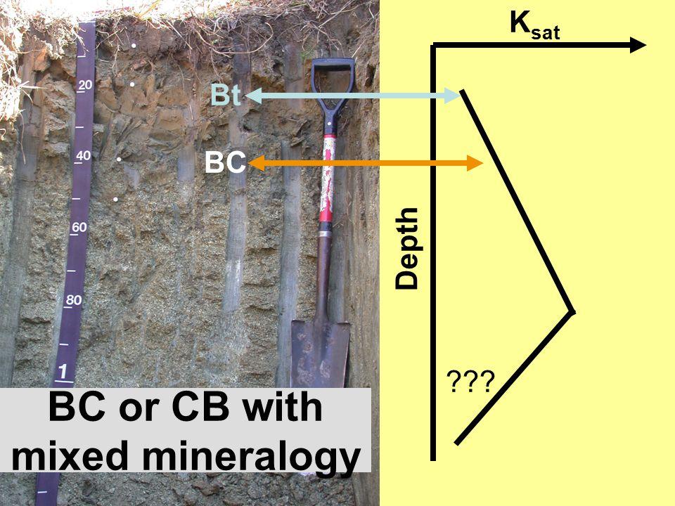BC or CB with mixed mineralogy K sat Depth BC Bt ???