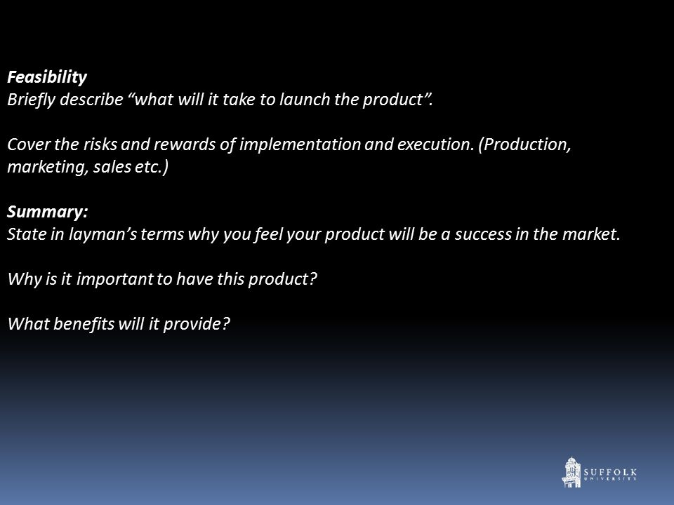 Feasibility Briefly describe what will it take to launch the product .