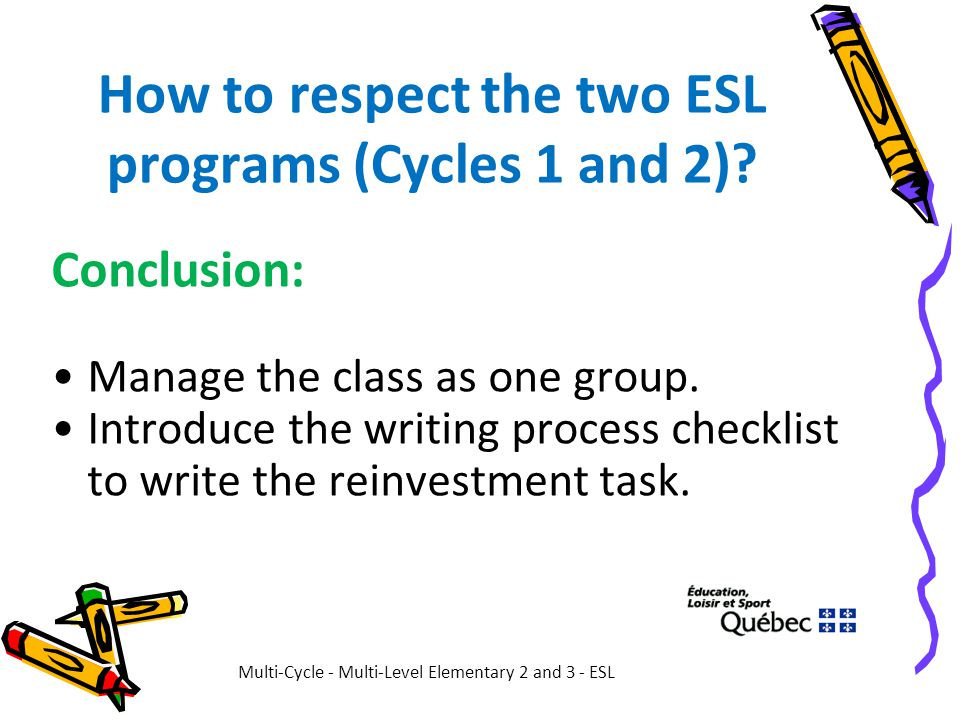 How to respect the two ESL programs (Cycles 1 and 2)? Conclusion: Manage the class as one group. Introduce the writing process checklist to write the