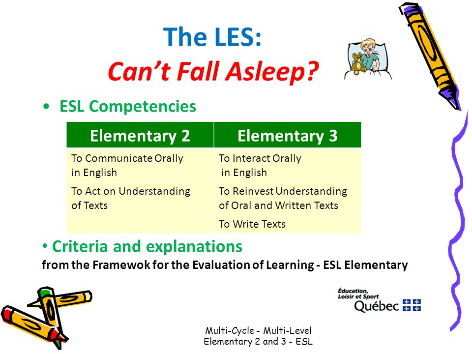 The LES: Can't Fall Asleep? ESL Competencies Multi-Cycle - Multi-Level Elementary 2 and 3 - ESL Elementary 2Elementary 3 To Communicate Orally in Engl