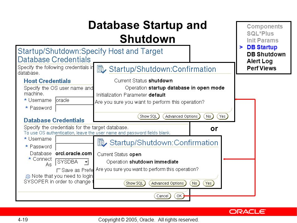 4-19 Copyright © 2005, Oracle. All rights reserved. Database Startup and Shutdown or Components SQL*Plus Init Params >DB Startup DB Shutdown Alert Log
