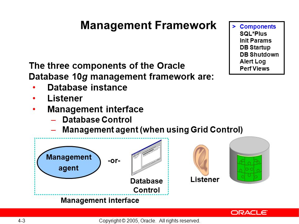 4-3 Copyright © 2005, Oracle. All rights reserved. Management Framework The three components of the Oracle Database 10g management framework are: Data