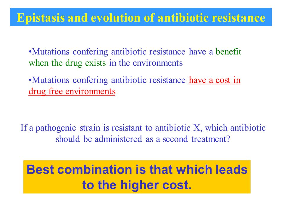 Mutations confering antibiotic resistance have a benefit when the drug exists in the environments Mutations confering antibiotic resistance have a cost in drug free environments Best combination is that which leads to the higher cost.