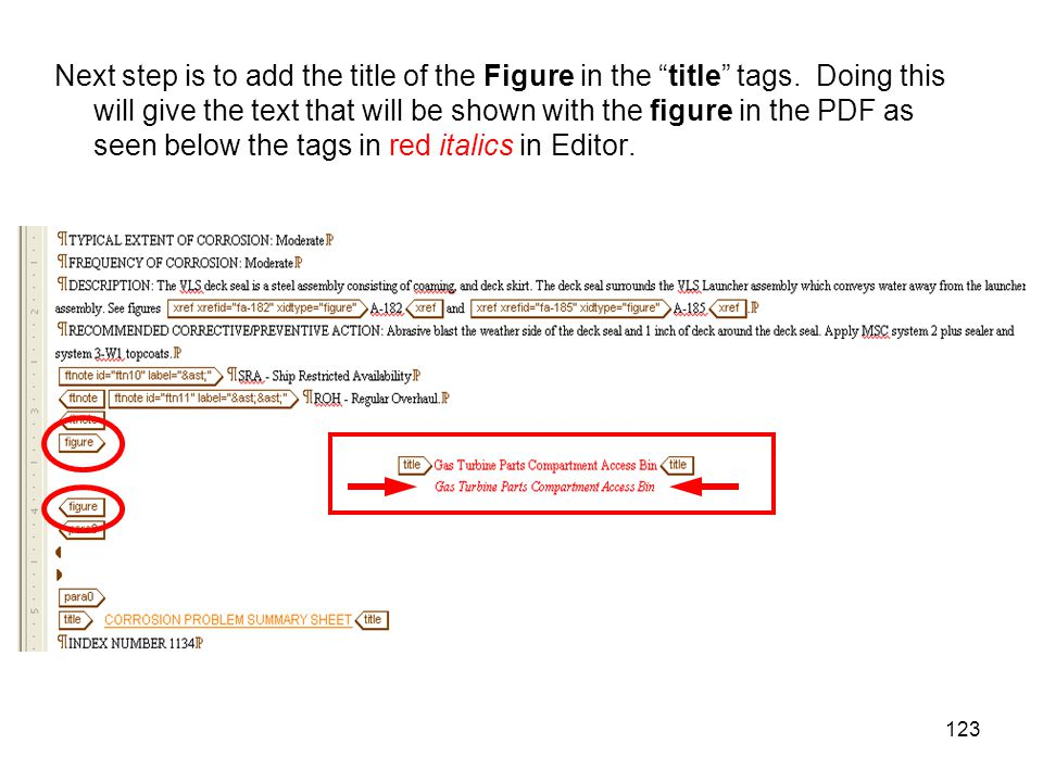 "123 Next step is to add the title of the Figure in the ""title"" tags. Doing this will give the text that will be shown with the figure in the PDF as se"