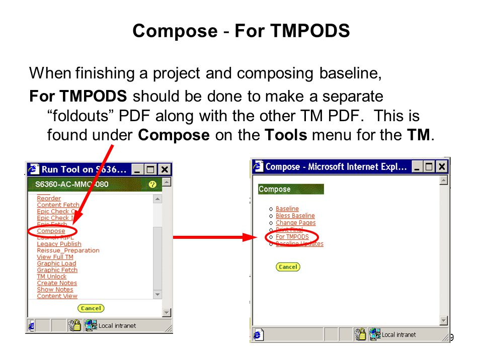 "169 Compose - For TMPODS When finishing a project and composing baseline, For TMPODS should be done to make a separate ""foldouts"" PDF along with the o"