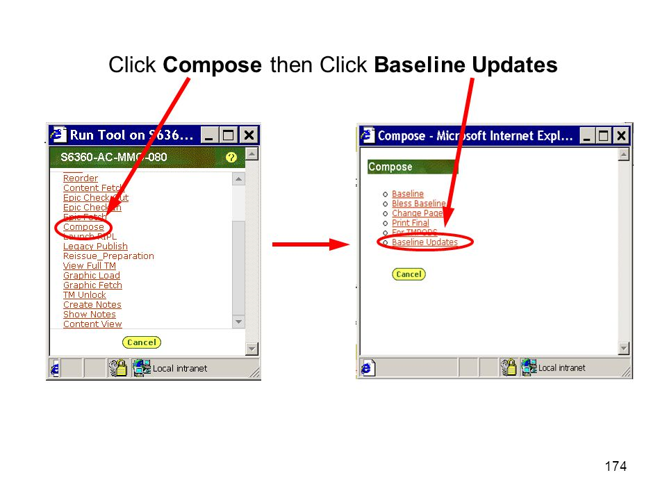 174 Click Compose then Click Baseline Updates