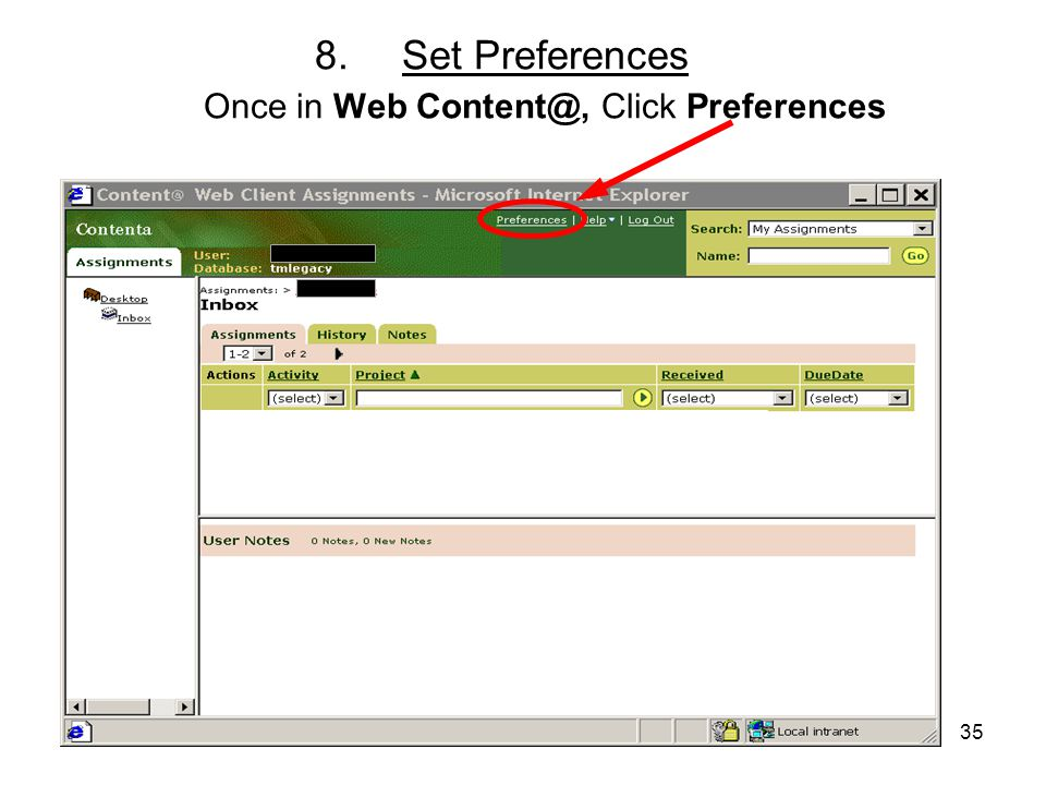 35 8.Set Preferences Once in Web Content@, Click Preferences