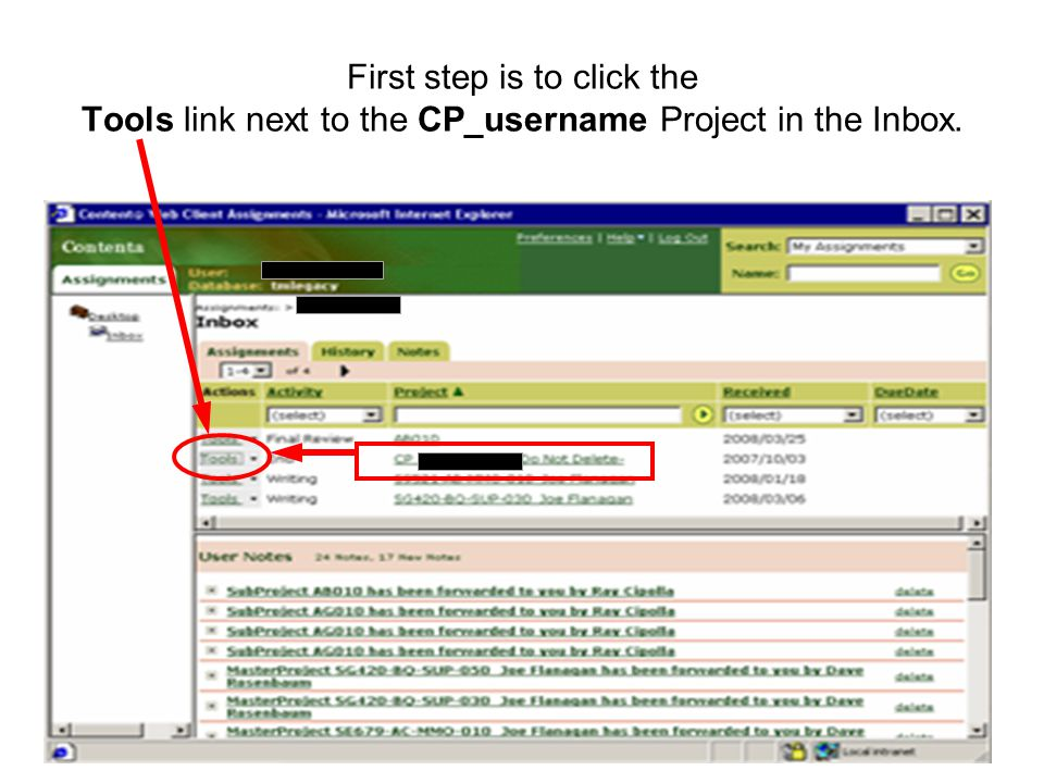 39 First step is to click the Tools link next to the CP_username Project in the Inbox.