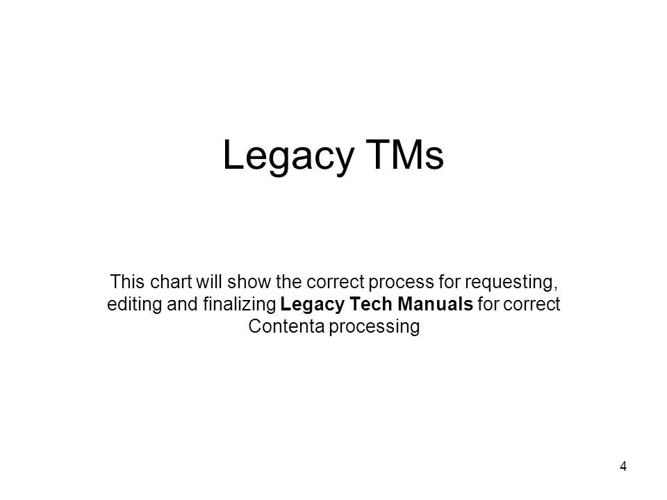 4 Legacy TMs This chart will show the correct process for requesting, editing and finalizing Legacy Tech Manuals for correct Contenta processing