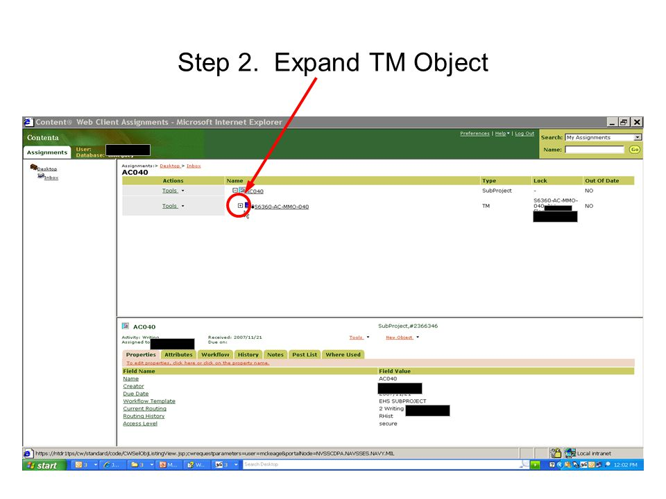 62 Step 2. Expand TM Object