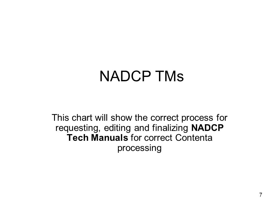 7 NADCP TMs This chart will show the correct process for requesting, editing and finalizing NADCP Tech Manuals for correct Contenta processing