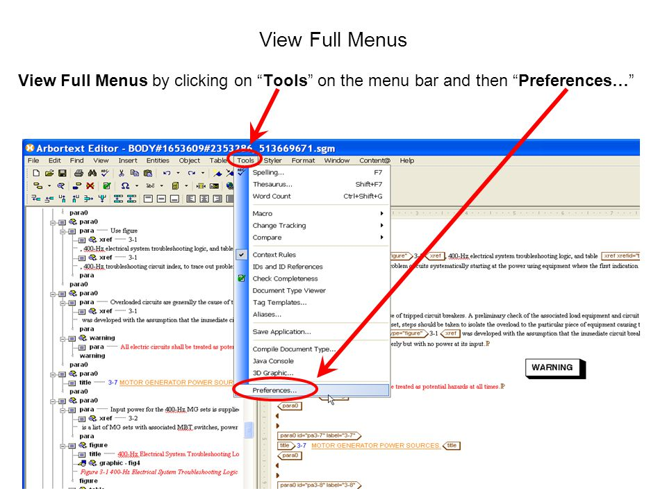 "73 View Full Menus View Full Menus by clicking on ""Tools"" on the menu bar and then ""Preferences…"""