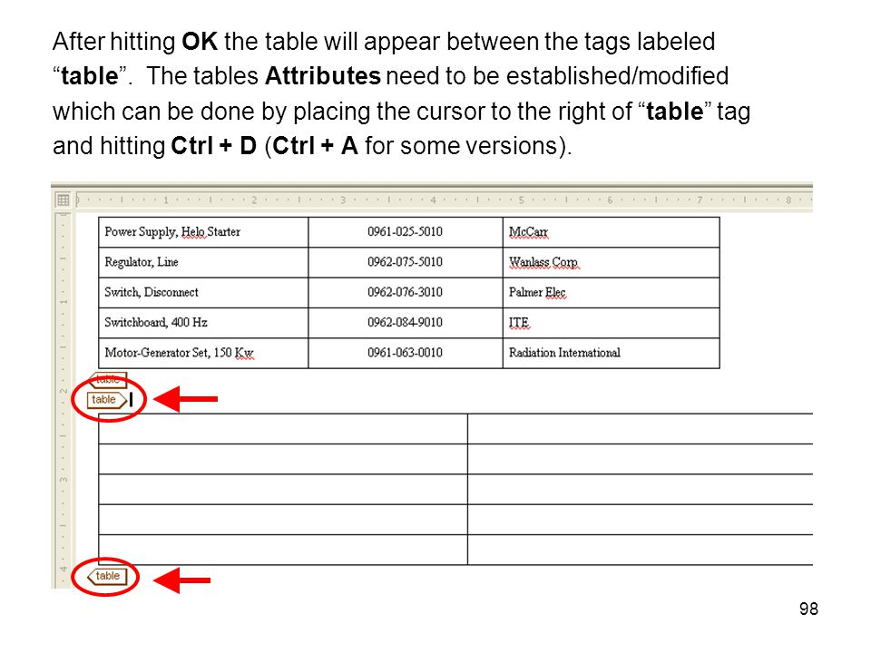 "98 After hitting OK the table will appear between the tags labeled ""table"". The tables Attributes need to be established/modified which can be done by"