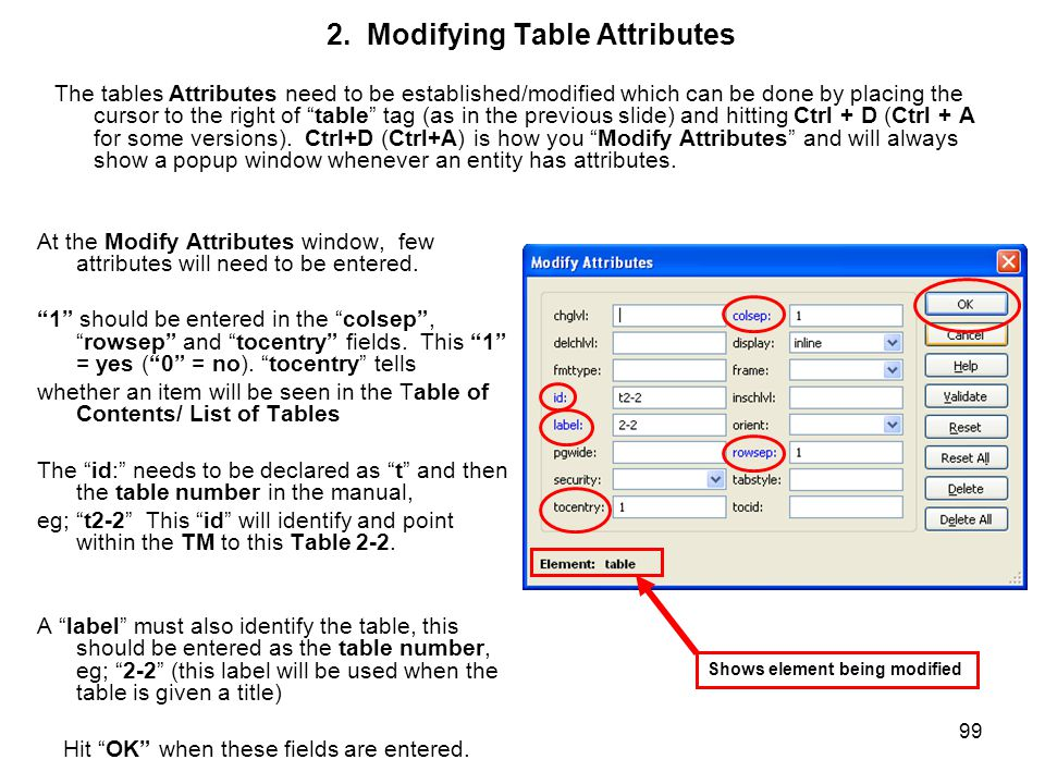 "99 2. Modifying Table Attributes The tables Attributes need to be established/modified which can be done by placing the cursor to the right of ""table"""