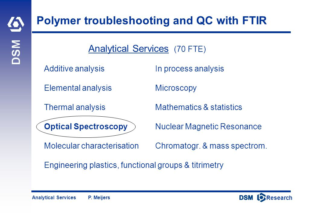 DSM Research Research Analytical Services P. Meijers Polymer troubleshooting and QC with FTIR Analytical Services (70 FTE) Additive analysisIn process