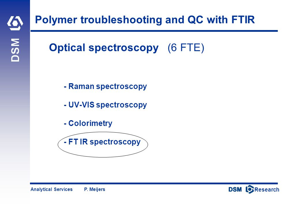 DSM Research Research Analytical Services P. Meijers Polymer troubleshooting and QC with FTIR Optical spectroscopy (6 FTE) - Raman spectroscopy - UV-V