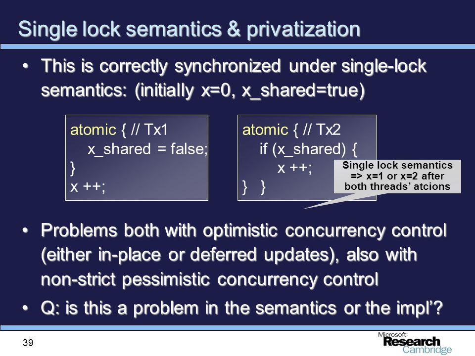 39 Single lock semantics & privatization This is correctly synchronized under single-lock semantics: (initially x=0, x_shared=true)This is correctly synchronized under single-lock semantics: (initially x=0, x_shared=true) Problems both with optimistic concurrency control (either in-place or deferred updates), also with non-strict pessimistic concurrency controlProblems both with optimistic concurrency control (either in-place or deferred updates), also with non-strict pessimistic concurrency control Q: is this a problem in the semantics or the impl' Q: is this a problem in the semantics or the impl'.