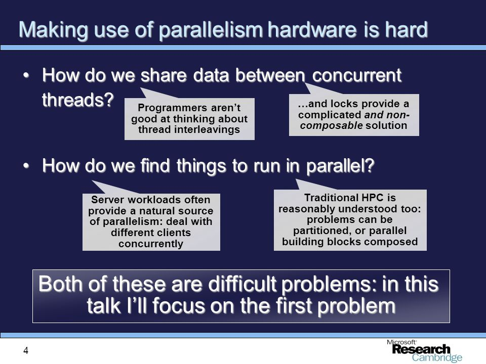 4 Making use of parallelism hardware is hard How do we share data between concurrent threads How do we share data between concurrent threads.