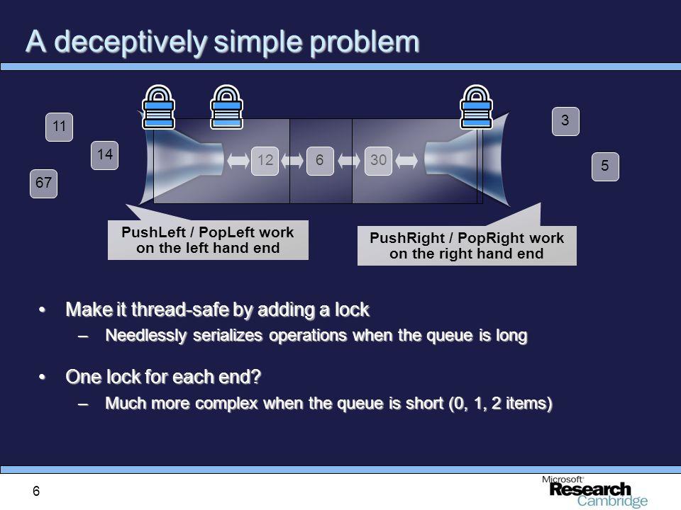 37 One approach: single lock semantics Think of atomic blocks as acquiring & releasing a single process-wide lockThink of atomic blocks as acquiring & releasing a single process-wide lock If the resulting single-lock program is correctly synchronized then so is the originalIf the resulting single-lock program is correctly synchronized then so is the original atomic { x ++; } atomic { y ++; } lock (TxLock) { x ++; } lock (TxLock) { y ++; }