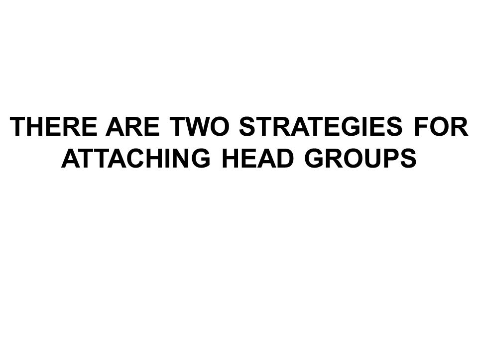 THERE ARE TWO STRATEGIES FOR ATTACHING HEAD GROUPS