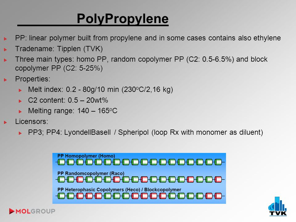 PolyPropylene PP: linear polymer built from propylene and in some cases contains also ethylene Tradename: Tipplen (TVK) (C2: 0.5-6.5%) (C2: 5-25%) Three main types: homo PP, random copolymer PP (C2: 0.5-6.5%) and block copolymer PP (C2: 5-25%) Properties: Melt index: 0.2 - 80g/10 min (230 o C/2,16 kg) C2 content: 0.5 – 20wt% Melting range: 140 – 165 o C Licensors: PP3; PP4: LyondellBasell / Spheripol (loop Rx with monomer as diluent)
