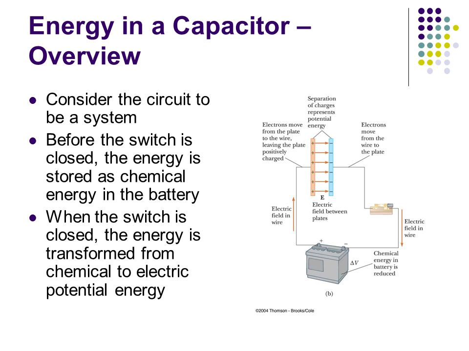 Energy in a Capacitor – Overview Consider the circuit to be a system Before the switch is closed, the energy is stored as chemical energy in the battery When the switch is closed, the energy is transformed from chemical to electric potential energy