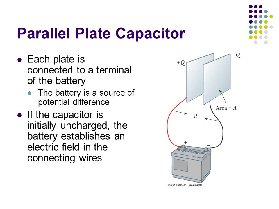 Parallel Plate Capacitor Each plate is connected to a terminal of the battery The battery is a source of potential difference If the capacitor is initially uncharged, the battery establishes an electric field in the connecting wires