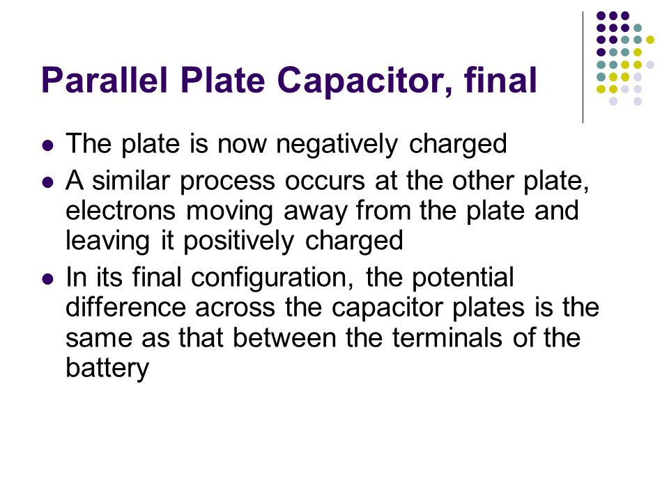 Parallel Plate Capacitor, final The plate is now negatively charged A similar process occurs at the other plate, electrons moving away from the plate and leaving it positively charged In its final configuration, the potential difference across the capacitor plates is the same as that between the terminals of the battery