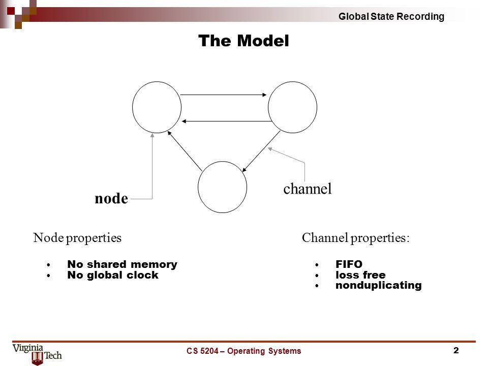 Global State Recording CS 5204 – Operating Systems3 The Problem $500 $200 C1:empty C2:empty $450 $200 C1:transfer $50 C2:empty $450 $250 C1:empty C2:empty