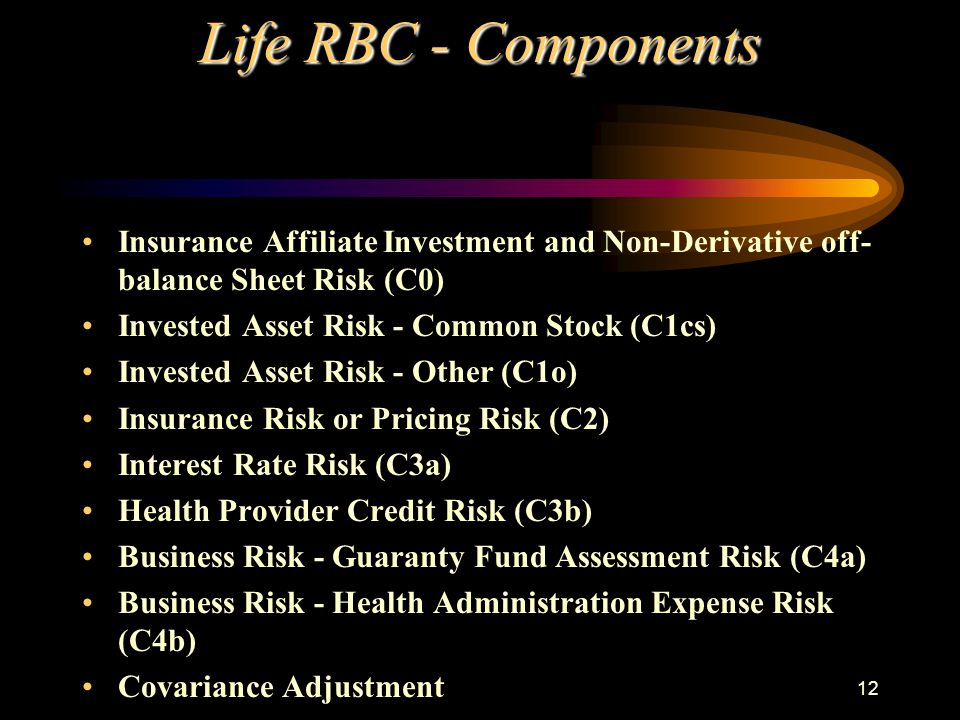 12 Life RBC - Components Insurance Affiliate Investment and Non-Derivative off- balance Sheet Risk (C0) Invested Asset Risk - Common Stock (C1cs) Invested Asset Risk - Other (C1o) Insurance Risk or Pricing Risk (C2) Interest Rate Risk (C3a) Health Provider Credit Risk (C3b) Business Risk - Guaranty Fund Assessment Risk (C4a) Business Risk - Health Administration Expense Risk (C4b) Covariance Adjustment
