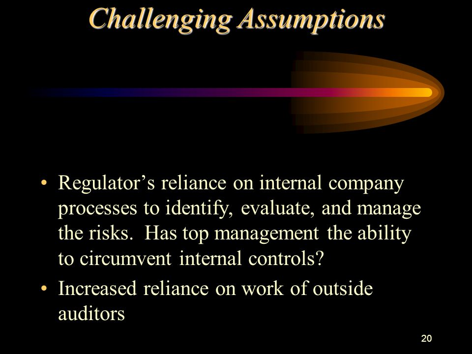 20 Challenging Assumptions Regulator's reliance on internal company processes to identify, evaluate, and manage the risks. Has top management the abil