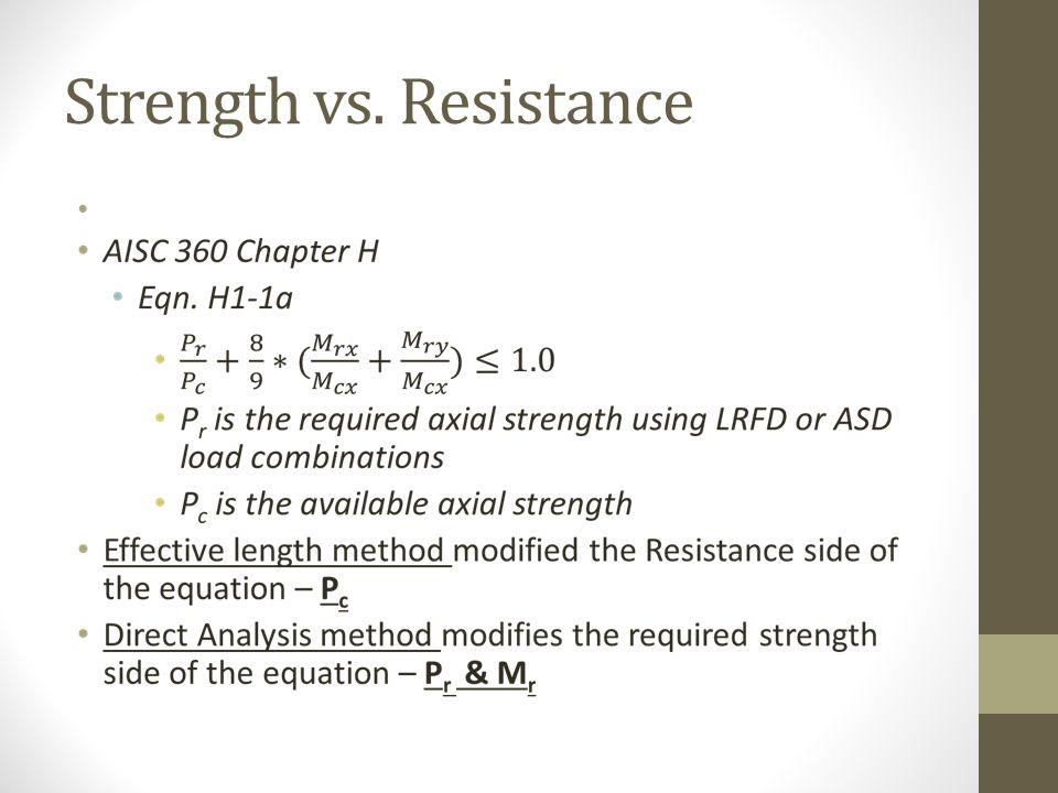 Strength vs. Resistance