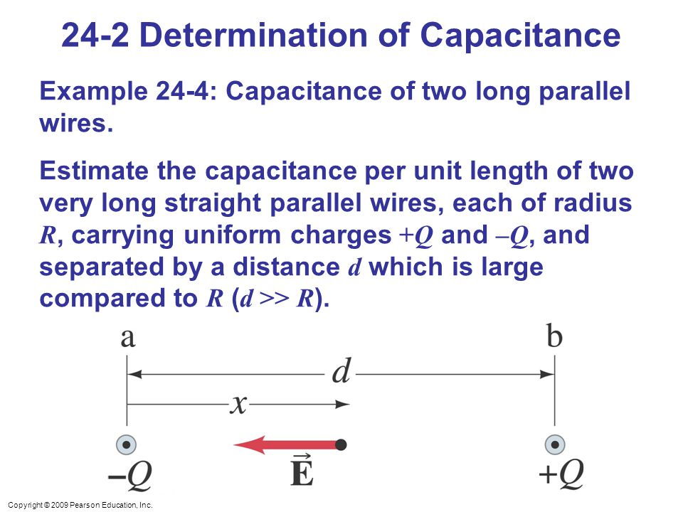 Copyright © 2009 Pearson Education, Inc. 24-2 Determination of Capacitance Example 24-4: Capacitance of two long parallel wires. Estimate the capacita
