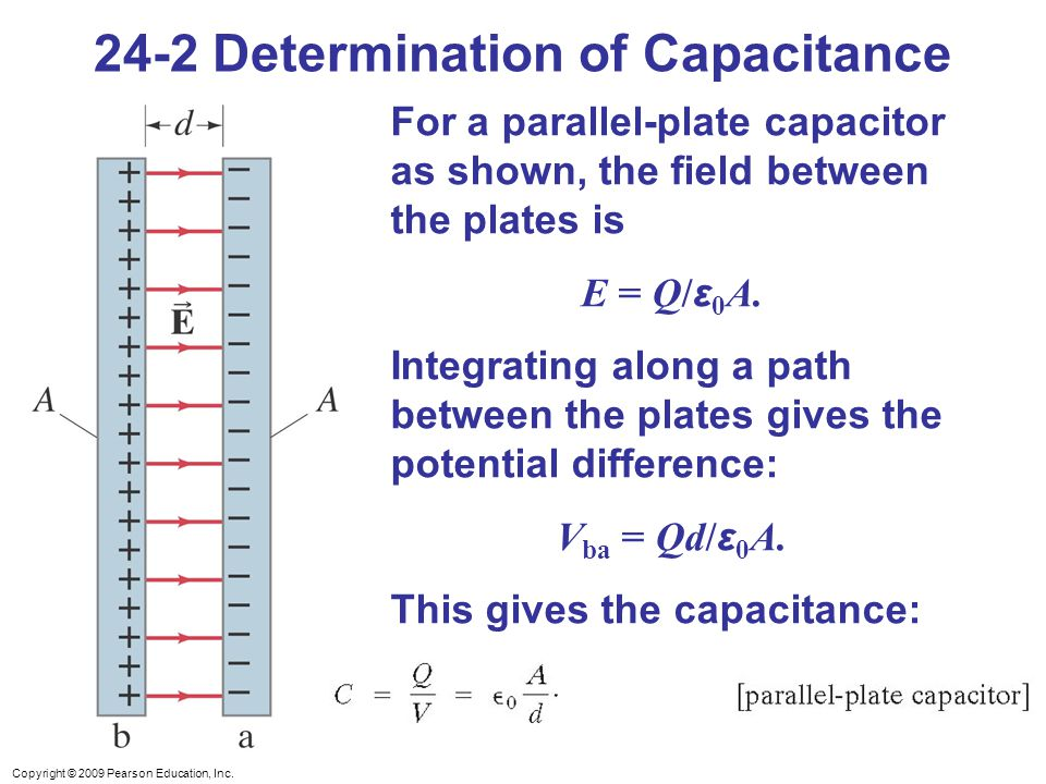 Copyright © 2009 Pearson Education, Inc. 24-2 Determination of Capacitance For a parallel-plate capacitor as shown, the field between the plates is E