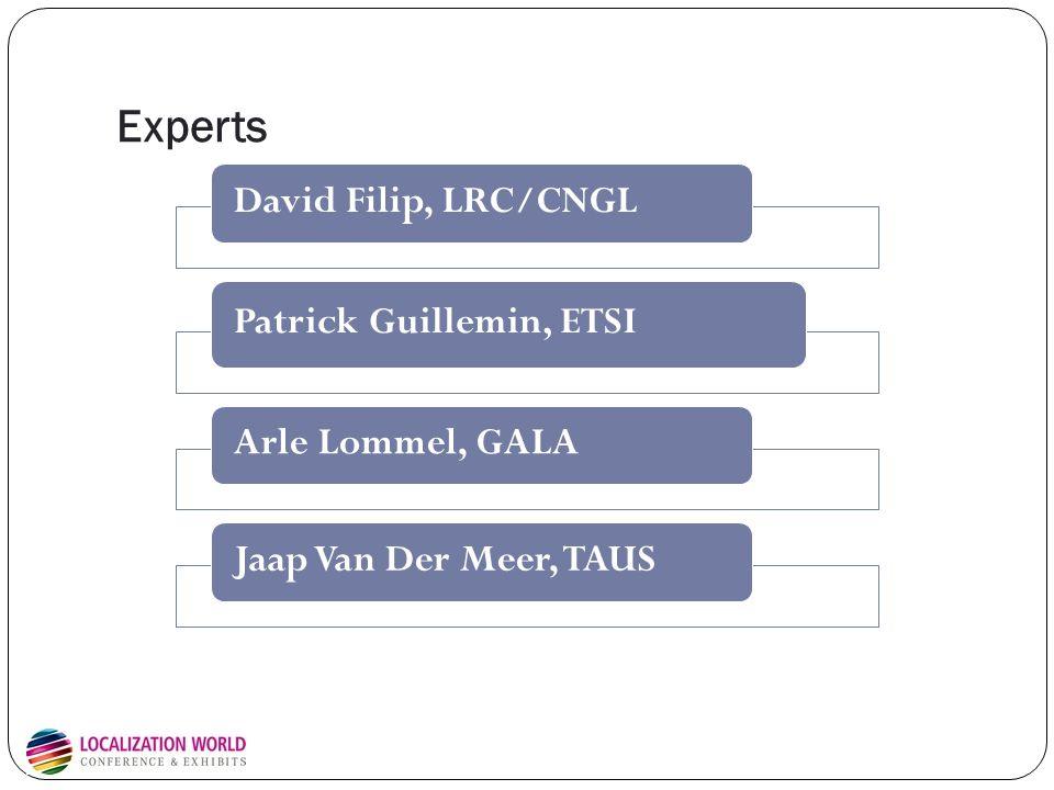 Experts David Filip, LRC/CNGL Patrick Guillemin, ETSI Arle Lommel, GALAJaap Van Der Meer, TAUS